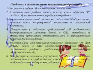 Проблемы восуществлении инклюзивного образования. 1.Отсутствие гибких обр