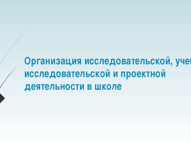 Организация исследовательской, учебно-исследовательской и проектной деятельно...