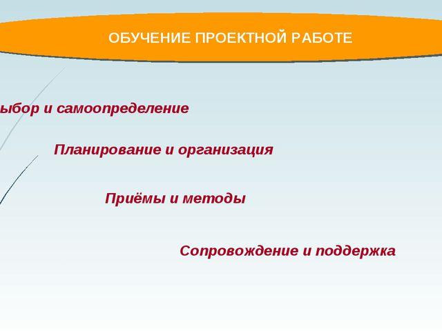 ОБУЧЕНИЕ ПРОЕКТНОЙ РАБОТЕ Планирование и организация Выбор и самоопределение...