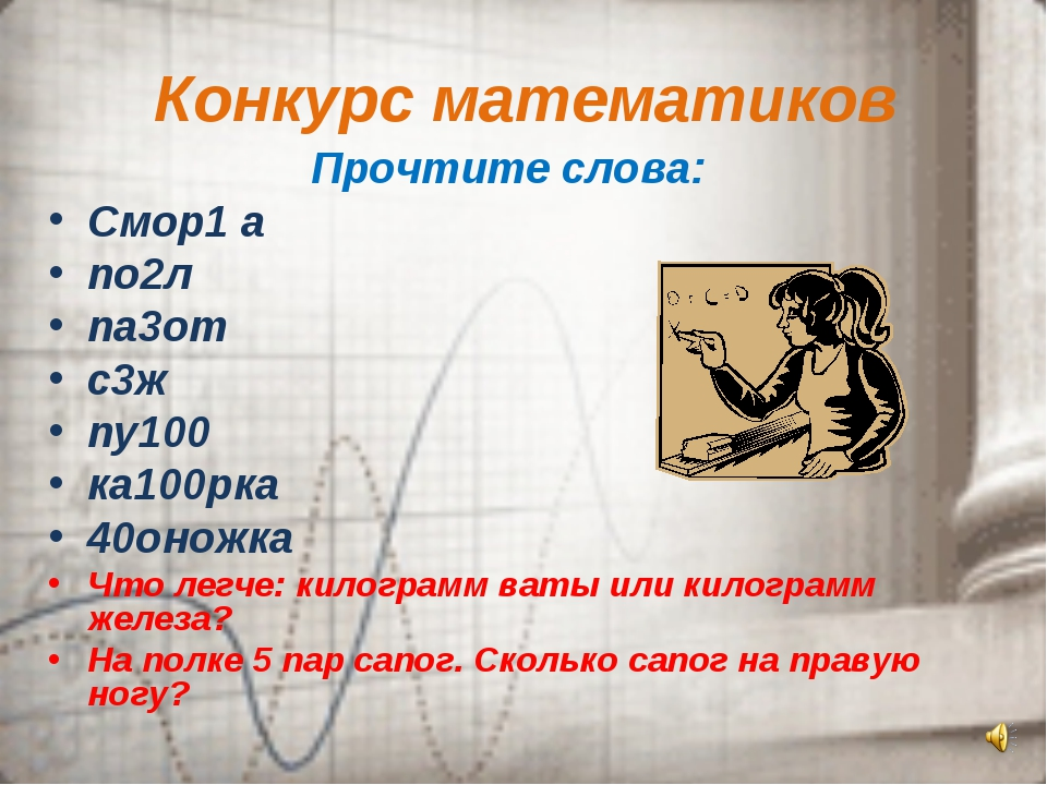 Конкурс математиков Прочтите слова: Смор1 а по2л па3от с3ж пу100 ка100рка 40о...