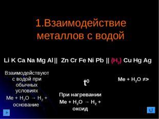 1.Взаимодействие металлов с водой t0 Li K Ca Na Mg Al    Zn Cr Fe Ni Pb    (H