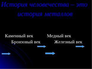 История человечества – это история металлов Каменный век Медный век Бронзовый