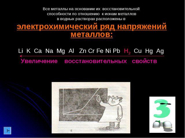Все металлы на основании их восстановительной способности по отношению к иона...