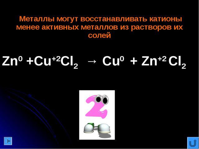 Металлы могут восстанавливать катионы менее активных металлов из растворов и...