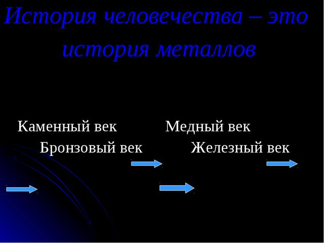 История человечества – это история металлов Каменный век Медный век Бронзовый...
