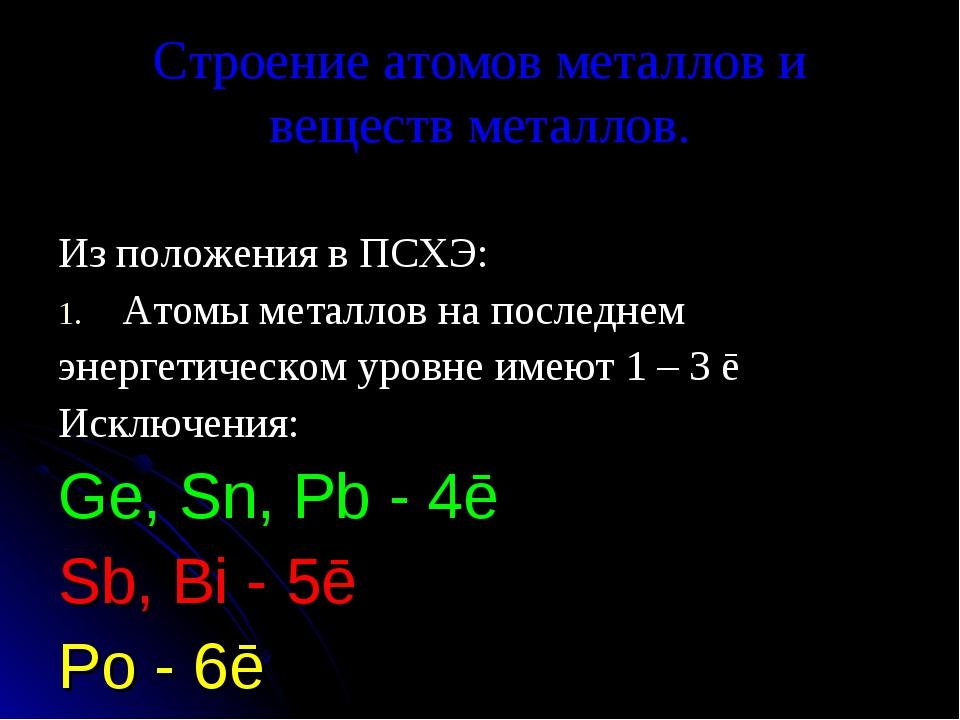 Строение атомов металлов и веществ металлов. Из положения в ПСХЭ: Атомы метал...