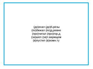 (до)ехал (до)б.рёзы (по)бежал (по)д.ревне (про)читал (про)гор.д (за)шёл (за)