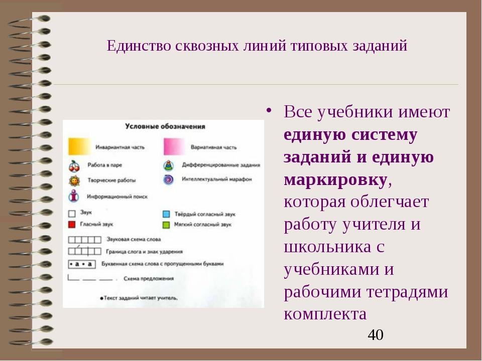 Единство сквозных линий типовых заданий Все учебники имеют единую систему зад...