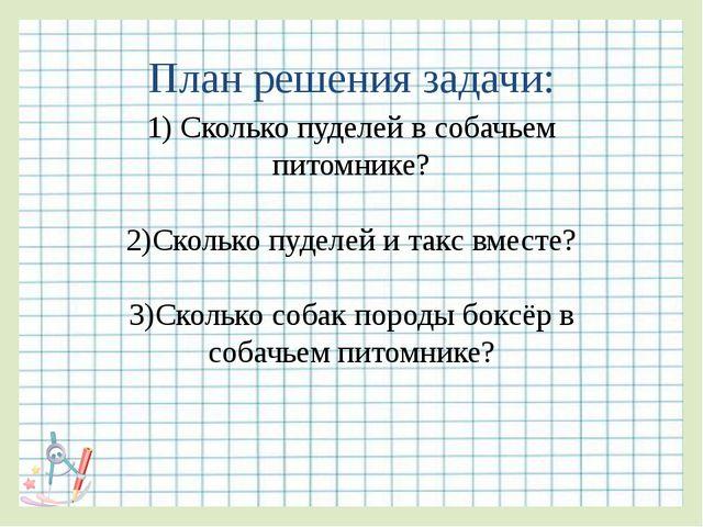 План решения задачи: 1) Сколько пуделей в собачьем питомнике? 2)Сколько пудел...