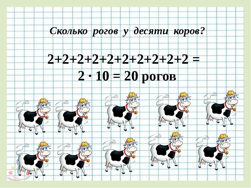 Сколько рогов у десяти коров? 2+2+2+2+2+2+2+2+2+2 = 2 ∙ 10 = 20 рогов