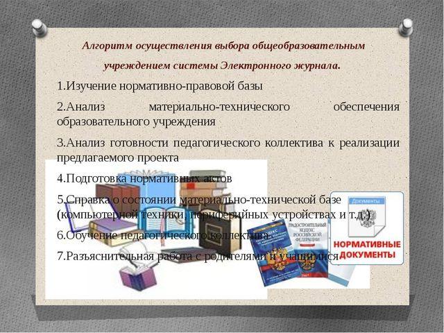 Алгоритм осуществления выбора общеобразовательным учреждением системы Электро...