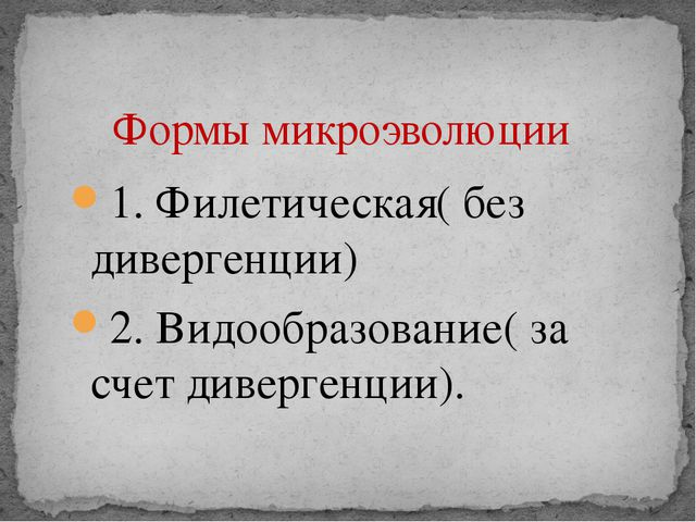 1. Филетическая( без дивергенции) 2. Видообразование( за счет дивергенции). Ф...