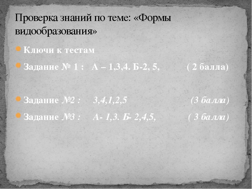 Ключи к тестам Задание № 1 : А – 1,3,4. Б-2, 5, ( 2 балла) Задание №2 : 3,4,1...
