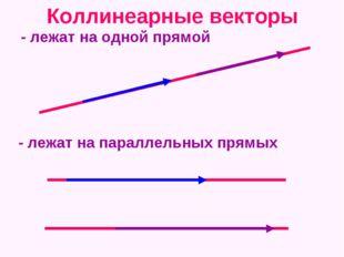 Коллинеарные векторы - лежат на одной прямой - лежат на параллельных прямых