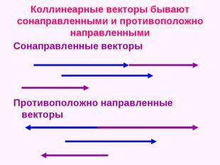 Коллинеарные векторы бывают сонаправленными и противоположно направленными Со