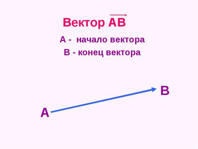 Вектор АВ А - начало вектора В - конец вектора А В