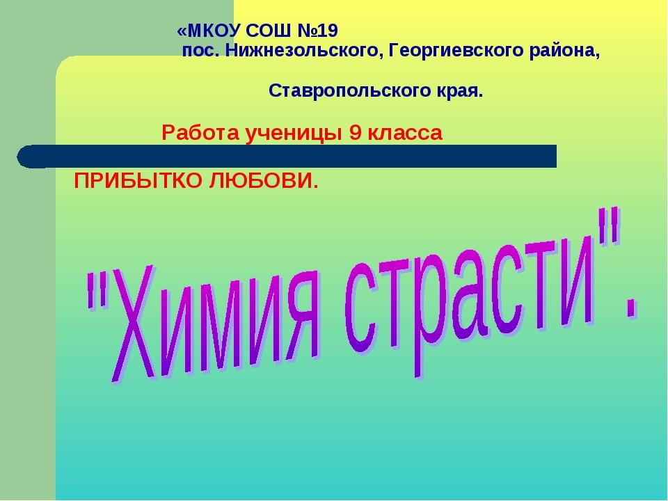 «МКОУ СОШ №19 пос. Нижнезольского, Георгиевского района, Ставропольского кра...