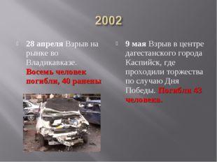 28 апреля Взрыв на рынке во Владикавказе. Восемь человек погибли, 40 ранены 9