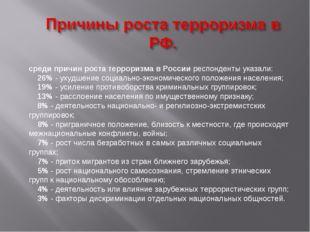 среди причин роста терроризма в России респонденты указали: 26% - ухудшен