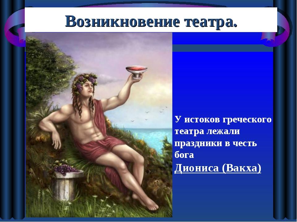 Возникновение театра. У истоков греческого театра лежали праздники в честь бо...