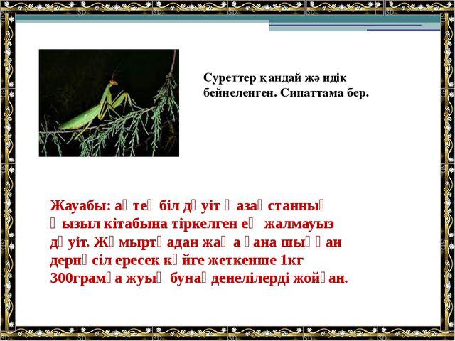 Жауабы: ақтеңбіл дәуіт Қазақстанның Қызыл кітабына тіркелген ең жалмауыз дәуі...