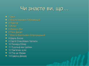 Чи знаєте ви, що… 1 Зміст 2 Микола Іванович Лобачевський 3 Піфагор 4 Фалес 5