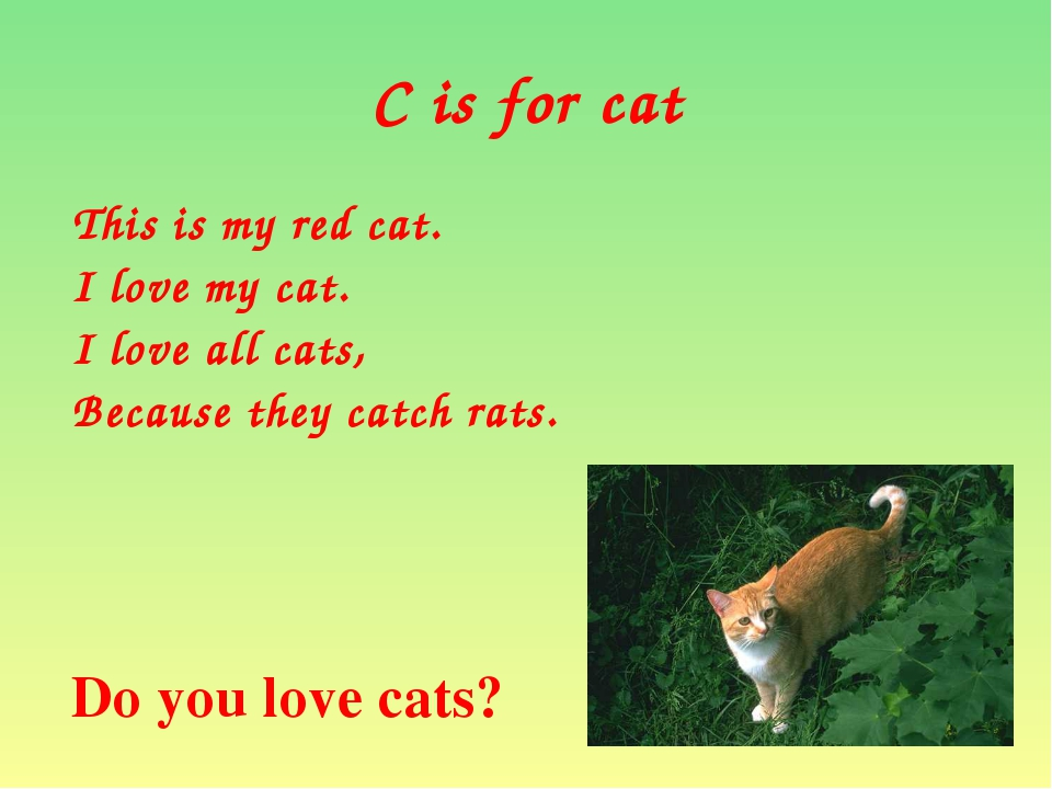 C is for cat This is my red cat. I love my cat. I love all cats, Because they...