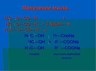 Получение мыла. H2C---O---CO---R t HC---O---CO---R` + 3 NaOH--- H 2C---O---