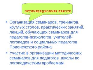 ОРГАНИЗАЦИОННАЯ РАБОТА Организация семинаров, тренингов, круглых столов, прак