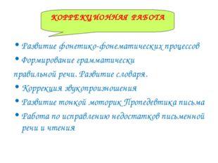 КОРРЕКЦИОННАЯ РАБОТА Развитие фонетико-фонематических процессов Формирование