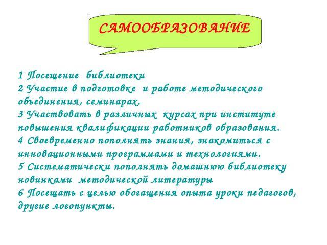 1 Посещение библиотеки 2 Участие в подготовке и работе методического объедине...