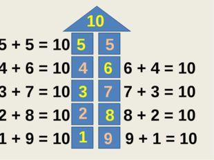 10 5 6 3 8 1 5 4 7 2 9 5 + 5 = 10 4 + 6 = 10 3 + 7 = 10 2 + 8 = 10 1 + 9 = 1