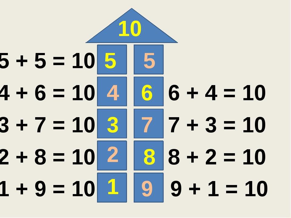 10 5 6 3 8 1 5 4 7 2 9 5 + 5 = 10 4 + 6 = 10 3 + 7 = 10 2 + 8 = 10 1 + 9 = 1...