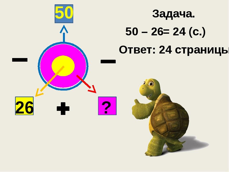 26 ? 50 Задача. 50 – 26 = 24 (с.) Ответ: 24 страницы.