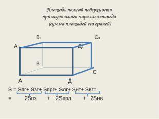 Площадь полной поверхности прямоугольного параллелепипеда (сумма площадей его