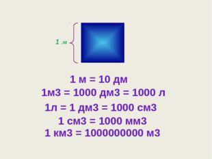 1 м 1м3 = 1000 дм3 = 1000 л 1 м = 10 дм 1л = 1 дм3 = 1000 см3 1 см3 = 1000 м