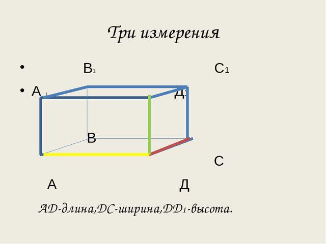 Три измерения В1 С1 А 1 Д1 В С А Д АД-длина,ДС-ширина,ДД1-высота.
