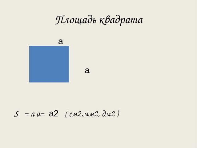 Площадь квадрата а а S = а а= а2 ( см2,мм2, дм2 )