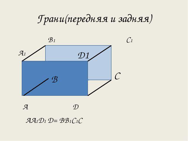 Грани(передняя и задняя) В1 С1 А1 А Д АА1Д1 Д= ВВ1С1С Д1 В С Д1