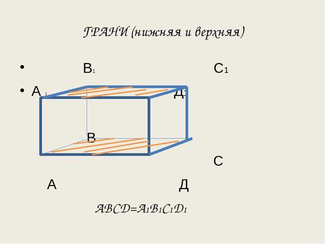 ГРАНИ (нижняя и верхняя) В1 С1 А 1 Д1 В С А Д АВСД=А1В1С1Д1