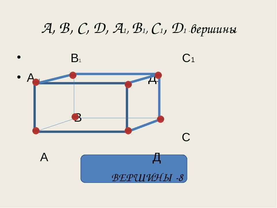 А, В, С, Д, А1, В1, С1, Д1 -вершины В1 С1 А 1 Д1 В С А Д ВЕРШИНЫ -8