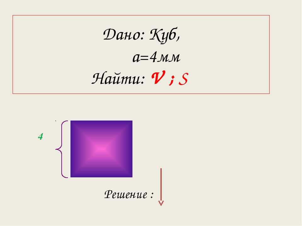 4 Дано: Куб, а=4мм Найти: V ; S Решение :