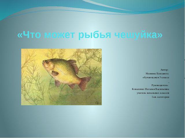«Что может рыбья чешуйка» Автор: Неевина Елизавета обучающаяся 3 клас...