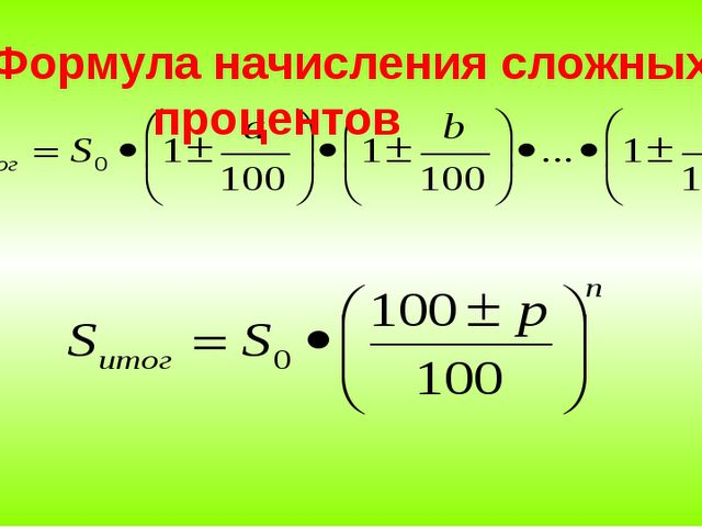 Формула начисления сложных процентов