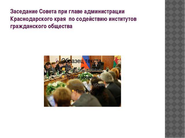 Заседание Совета при главе администрации Краснодарского края по содействию ин...