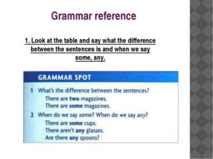 Grammar reference 1. Look at the table and say what the difference between th