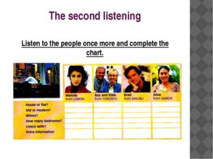 The second listening Listen to the people once more and complete the chart.