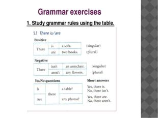 Grammar exercises 1. Study grammar rules using the table.