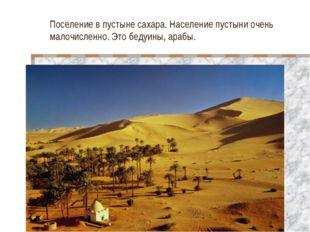 Поселение в пустыне сахара. Население пустыни очень малочисленно. Это бедуины
