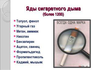 Яды сигаретного дыма (более 1200) Толуол, фенол Угарный газ Метан, аммиак Ник